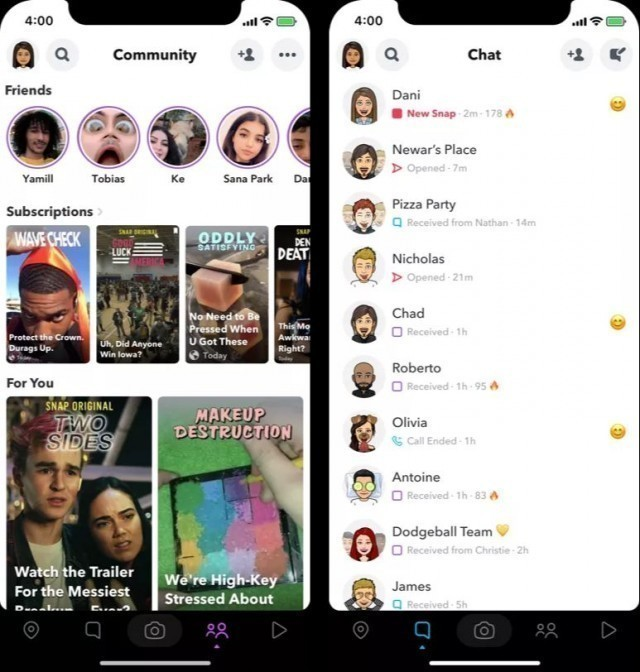 Snapchat is testing a redesigned version on Android and iOS, reports The Verge, citing screenshots shared by tipsters.
